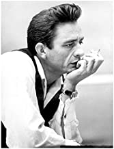 Johnny Cash 8x10 Photo Singer Black & White Ring of Fire head on hand Pose 1
