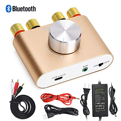 F900 Mini Bluetooth Power Amplifier Wireless Audio Receiver with 12V 5A DC Adapter, Stereo Hi-Fi Digital Amp 2.0 Channel 50W 2 with AUX/USB/Bluetooth Input (Gold) …