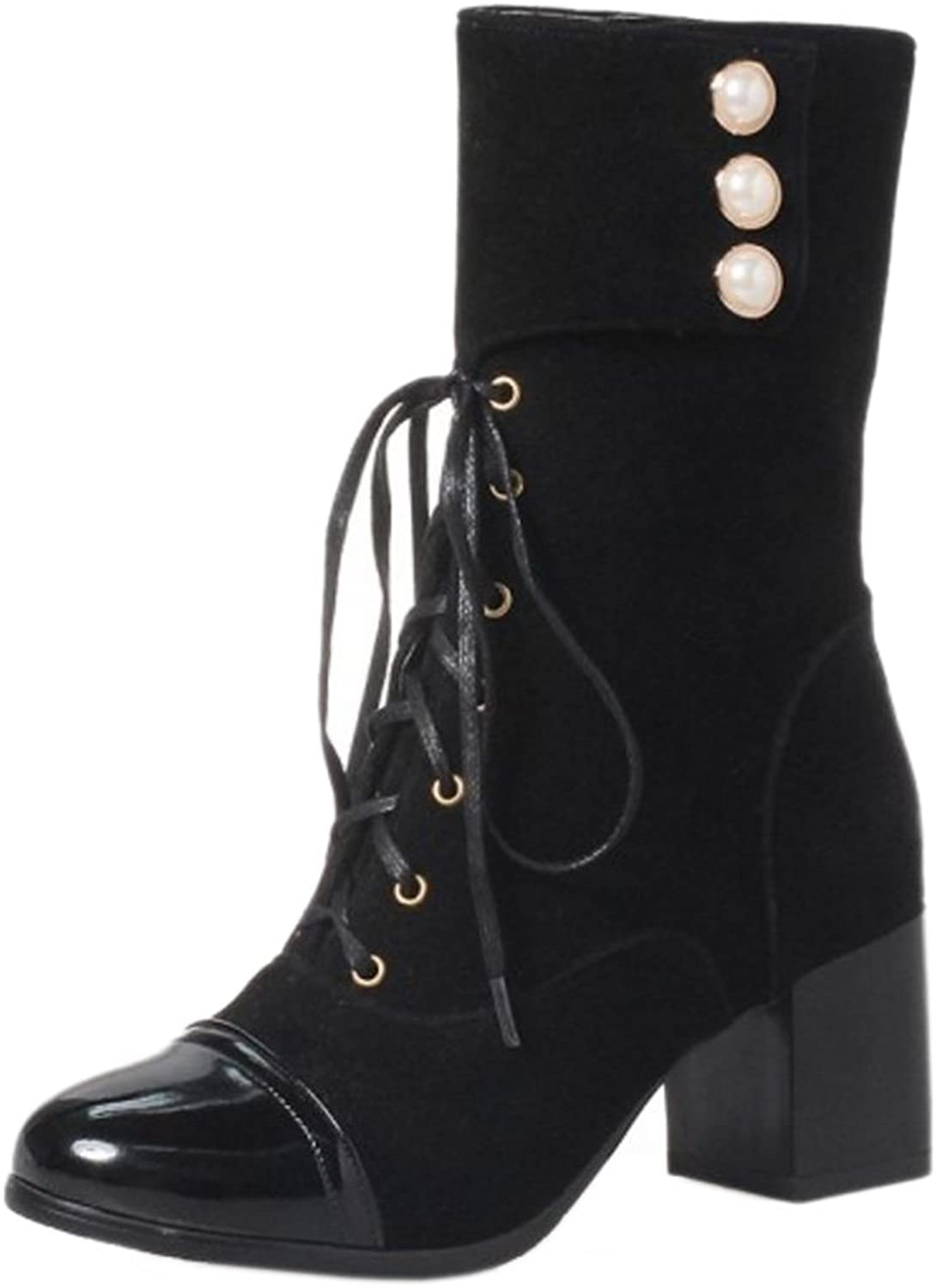 TAOFFEN Women Western Med Heel Winter shoes Lace-up Martin Boots Booties