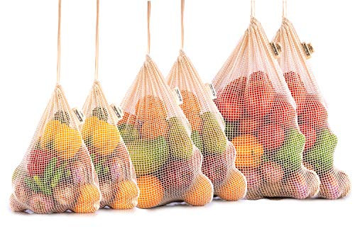Cotton Produce Bags - 100% Organic Reusable Produce Bags - Mesh Grocery Bag - NetZero Produce Bags - Mesh Bags for Grocery Shopping - Biodegradable - Cotton Mesh Bags (Set of 6 - XL, L, M)