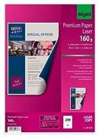 Sigel lp324プレミアム品質用紙両面マット、108.1ポンドのカラーレーザー/コピー機の、a4、200枚