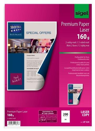 SIGEL LP324 Premium-Laser / Kopier-Papier, A4, 200 Blatt, superweiß, beidseitig bedruckbar, 160 g - weitere Grammaturen