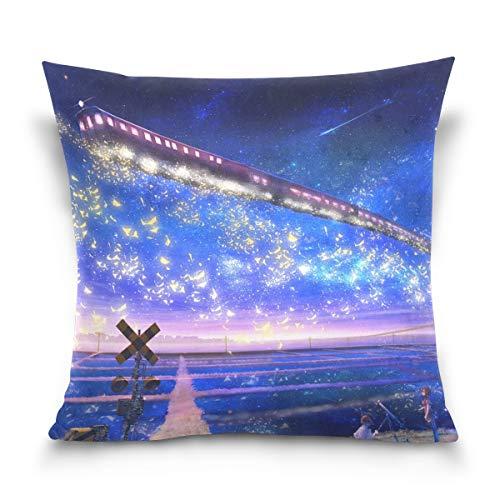 FULUHUAPIN Fundas de almohada con diseño de tren cielo estrellado con estampado cuadrado de algodón, fundas de cojín para sofá, decoración del hogar, 40,6 x 40,6 cm 2030457