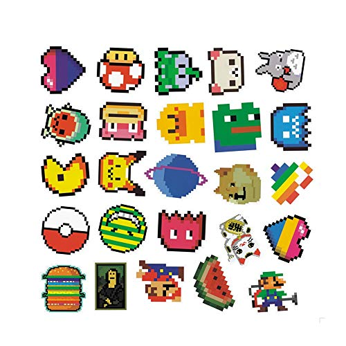 25pcs a bag Pac-Man shaped stickers No repeat Pvc Waterproof funny Stickers about Pixel Mosaic
