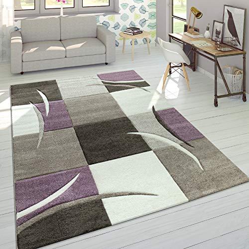 Alfombra De Diseño Moderna Contorneada En Colores Pastel con Estampado Cuadriculado En Beige Y Lila, tamaño:160x230 cm