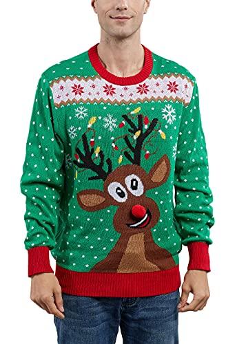 MUYOGRT Weihnachtspullover Familie Set Pullover Weihnachten Rentier Elch Strickpullover Winter Christmas Sweater Rundhals Strick Pulli Klassischer Retro Sweatshirt(Grün-Herren,M)