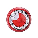 HUOFU Mechanical Timer with Magnetic, 60 Minutes Visual Kitchen Countdown Timer with Alarm for Cooking Baking, Steaming, Barbecue, Kitchen Timer(red)