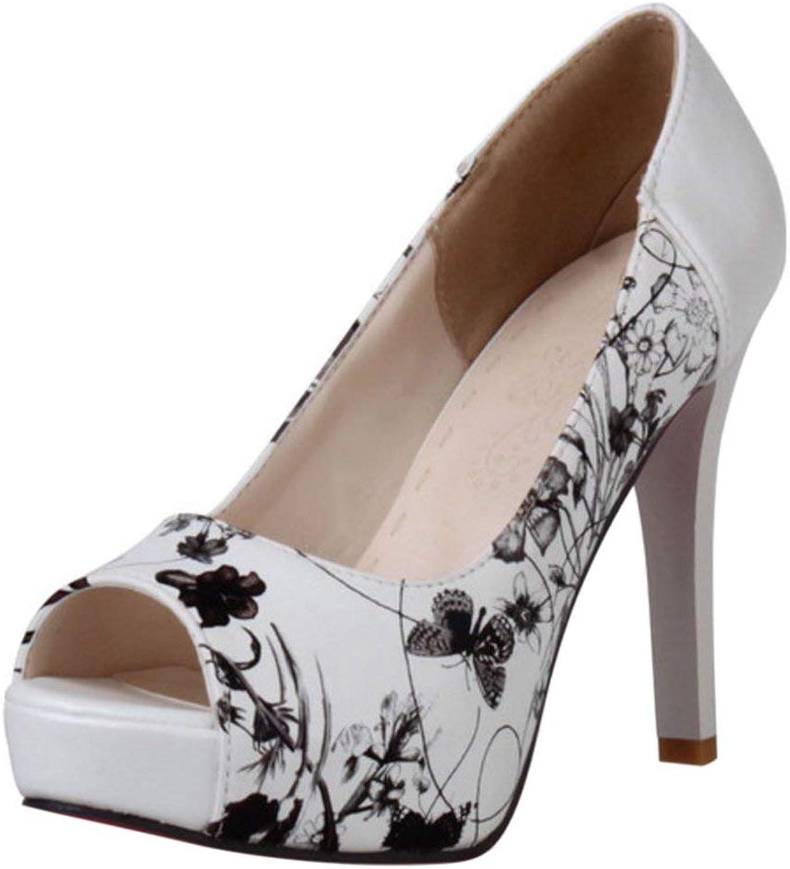 Unm Women Summer Peep Toe Heels shoes Floral