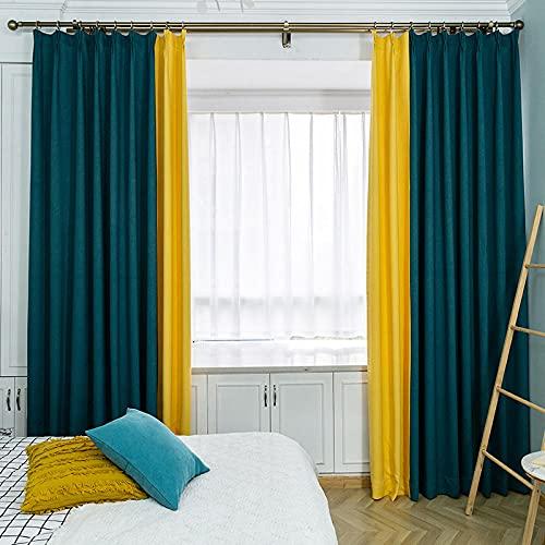 BUFULAIZHAN Cortinas Dormitorio Opacas Verde Amarillo Decoracion De Ventanas Salon Termicas Aisantes Frio Y Calor Tela Suave Suficiente Gruesa Cortina Habitacion 2 Piezas 183X214Cm