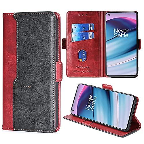 FiiMoo Handyhülle Kompatibel mit OnePlus Nord CE 5G, [Weicher TPU] [Kartenfach] [Magnetverschluss] [Aufstellfunktion] Premium Leder Tasche Flip Wallet Hülle Schutzhülle Hülle für OnePlus Nord CE 5G-Rot