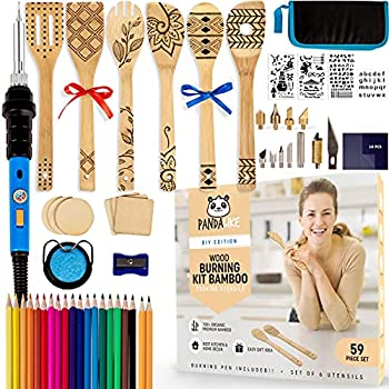 PANDALIKE Burn Your Own Wooden Spoons Kit - 59-Pieces - Kids  Wood Craft Kits - DIY Wood Burning Kit for Kids and Adults - Wood Crafts for Kids - Arts and Crafts for Boys +14 - Wood Burner Projects