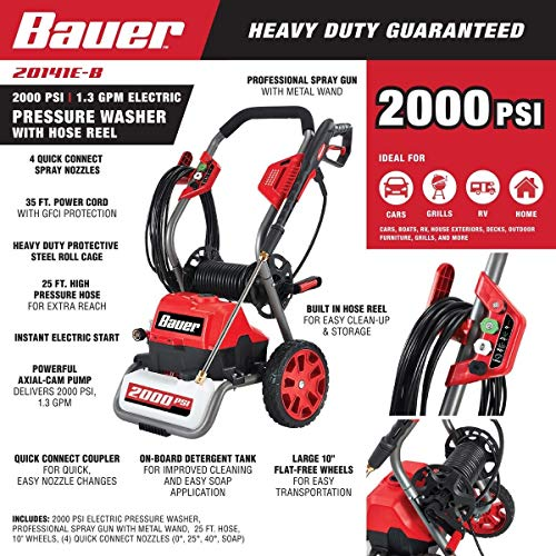 2000 PSI Max Performance Electric Pressure Power Washer Bauer