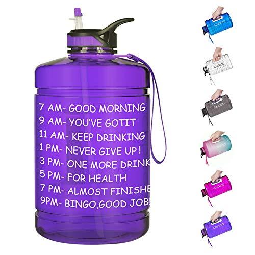 Opard Wasserflasche mit Zeitmarkierung, 1,8 l, motivierender Wasserkrug, große Sport-Trinkflasche mit Strohhalm-Griff, BPA-frei, für Fitnessstudio, Fitness (schwarz)