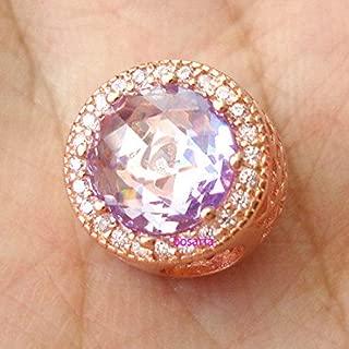 FidgetFidget and Copper Alloy Lavender Radiant Hearts Pink CZ Charm European Bracelet
