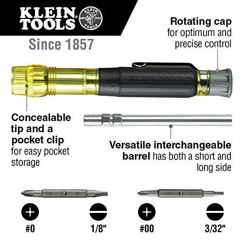 Klein Tools 32614 Multi-bit Precision Screwdriver Set, 4-in-1 Electronics Pocket Screwdriver, Professional Phillips and Slotted Bits