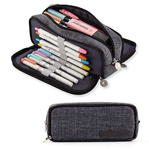 ANGOOBABY 大容量 ペンケース 帆布 筆箱 多機能 ポーチ 男の子 女の子 子供 小学生 中学生 高校生 大学生 社会人用 (グレー)