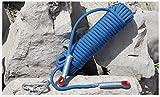 ND-Climbing rope 10 mm / 12 mm Zugfestigkeit 1800kg Kletterseil aus Nylon Outdoor Camping Hilfsseil Rettungsseil Doppelt gewebte Nylonschicht CE/UIAA-konform, Blau (Color : Blue, Size : 12m/50m)