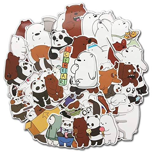 MYOMY Sticker Doodle Waterproof Sticker Pack Cute Bear 42 Pcs Applique Motorized Skateboard Travel Suit Helmet