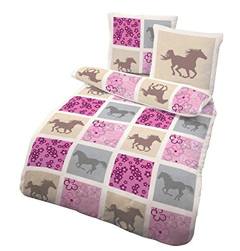 IDO Fein Biber Bettwäsche 2tlg. Beige-Rosa-Pferde 47757-209 Kinder Jugend Bettwäsche 80x80 cm / 135x200 cm