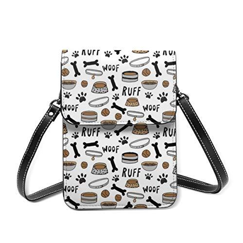 Kleine Umhängetasche für Frauen – süße Hundenäpfe, weißer Knochen, für Hundefutter, Handy, Portemonnaie, Geldbörse, Tasche, Mehrzweck-Schultertasche aus weichem PU-Leder