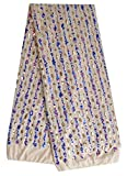 SanVera17 African Fabric Multicolor Sequins Stretchable Net for Party Dress (Apricot) 5 Yards