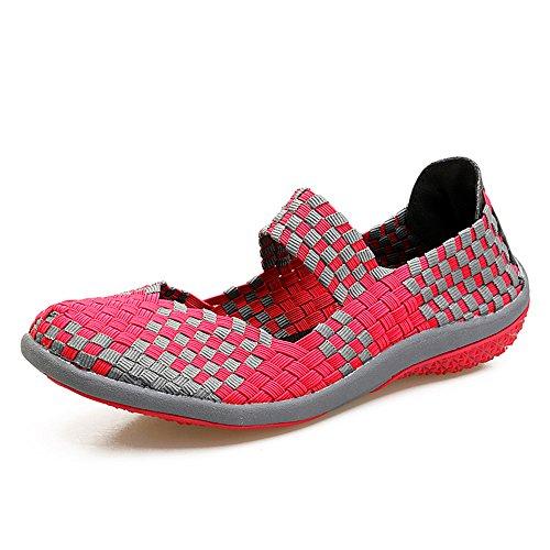 FZDX Damen Schuhe Handgemachte Elastische Gewebte Slip-on Leichte Atmungsaktive Mode Outdoor Walking Schuhe