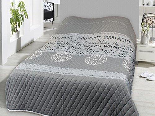 FashionundJoy XL Bettüberwurf Good Night Tagesdecke gesteppt 220x240 Steppdecke grau Überwurf ÖKOTEX Decke Vintage Shabby Chic Typ456