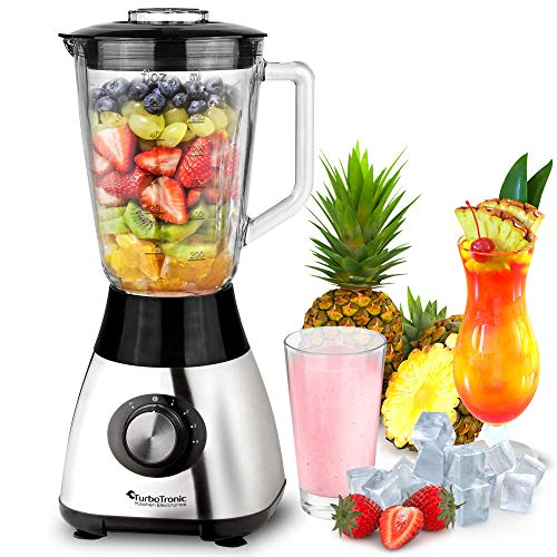 TurboTronic/Standmixer mit 1,5L Glasbehälter / 1200W / Edelstahl silber/Smoothie Maker, Ice Crush Funktion, Blender
