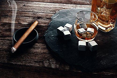 Whisky Steine, Wiederverwendbare Edelstahl Eiswürfel Set + Zange + Stoffbeutel   8 Metall Kühlsteine, Premium Bar Zubehör für alle Getränke, Cocktail Gin Whiskey   Geburtstag Geschenk Mann & Frau - 7