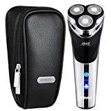 POVOS USB-Charged Men's Electric Razor Rotary Shaver, Wet & Dry Shaving Razors with Pop-Up Beard Trimmer, LCD Display and Travel Case