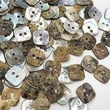 Botones de Ropa 50 PCS 11mm 2 Agujeros Madre de Pearl Cuadrado Costura Botones Scrapbooking Bouton Bricolaje Accesorios de Ropa PT153 Pulido Fino sin Rebabas.