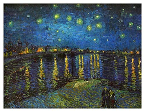 BOXSBAI Starry Night Over the Rhone Vincent Van Gogh,Wooden Jigsaw Puzzles for Adults Kids, 1000 Pieces for Boy Girl Friends Gift Toys Game Home Decoration puzzle mates (Size : 1000 pieces)