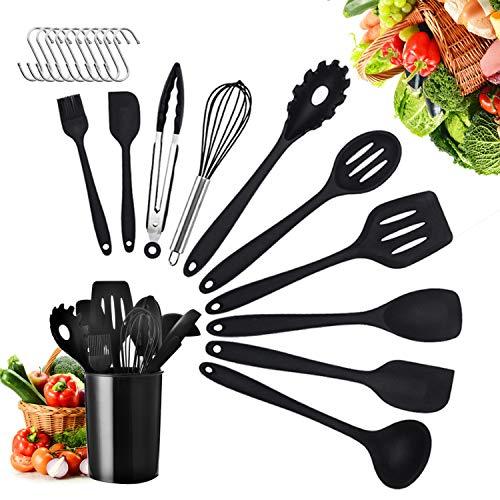 Yuning Ustensiles de Cuisine,21pcs Set spatule en Silicone de qualité Alimentaire,résistant à la Chaleur Outils de Cuisson antiadhésifs pour Cuisine 10 Sets+Conteneur de stockage+10 Crochets en S-Noir