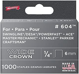 Arrow Fastener 604 Wide Crown Swingline Heavy Duty 1/4-Inch Staples, 1,000-Pack