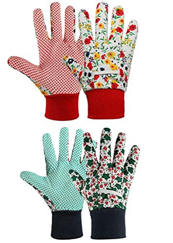 cmjlydh 2 Paar Lady Garden Handschuhe, Gartenhandschuhe für Damen, Arbeitshandschuhe damen, Antirutschbeschichtung Einheitsgröße mit PVC-Punkten Zum pflanz-und Arbeitshandschuhe Gartenarbeit