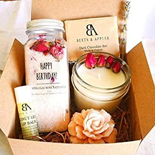 Handmade Happy Birthday Gift Baskets for Women, Rose Spa Gift Set for Her, Relaxation Gifts, Spa Kit, Unique Birthday Present