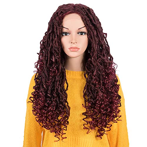 NOBLE Wine Red Goddess Faux Locs Crochet Hair Wigs 24 INCH Simulated Scalp Lace Front Wigs Locs with Curly Ends Synthetic Crochet Hair Braids Lace Front Wigs for Women