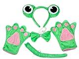 Niedliches Froschkostüm für Kindergeburtstag, Stirnband, Schleife, Schwanz, Handschuhe, Grün, 4-teiliges Set Gr. One size, grün