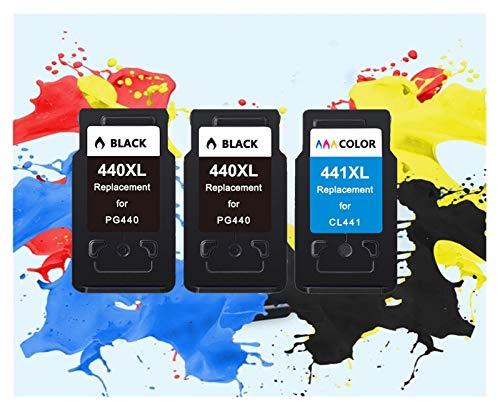 TZZD La sustitución del cartucho CL441 PG440 aplicable para Canon PG 440 CL 441 440XL Cartucho de tinta para Pixma MG4280 MG4240 MX438 MX518 MX378 (color: 2Black 1Color)