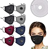 8PCS Cotton Face Mask Washable and Reusable, Bandanas with Breathing valve With Activated 40 PCS Carbon Filter Replaceable Filters UK SELLER-BLACK,RED,BLUE,GREY