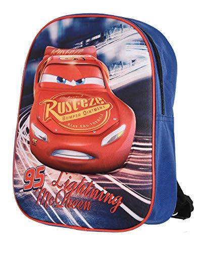 Mochila pequeña para niños y guarderías infantiles de Cars Mc Queen, Disney azul/rojo, 30 x 24 x 8 cm