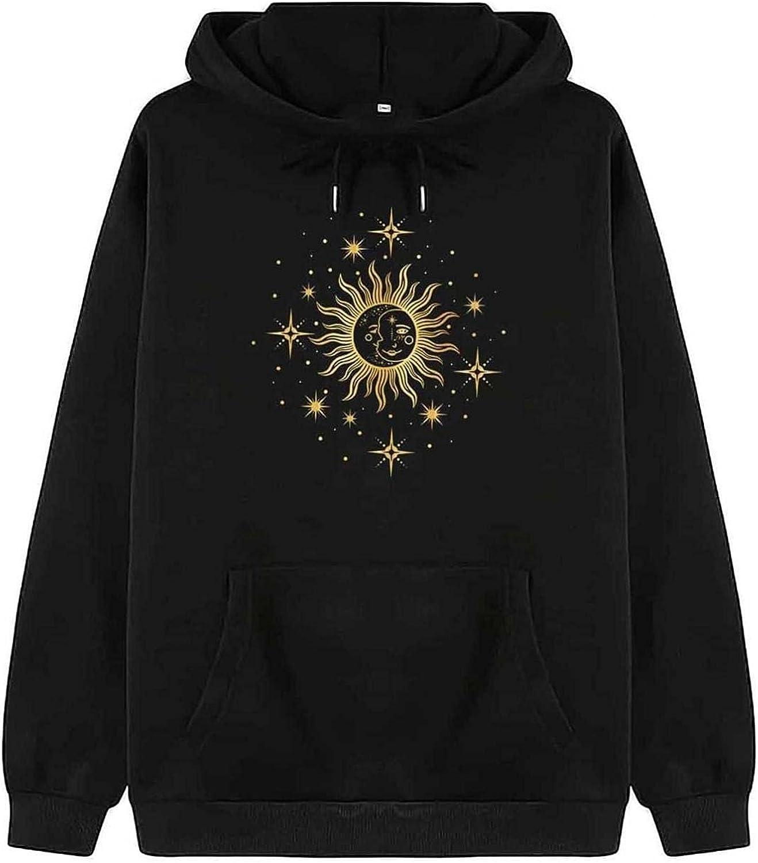 Aniwood Sweatshirts for Women, Womens Long Sleeve Sun Printed Hooded Sweatshirts Teen Girls Casual Loose Tops Shirts