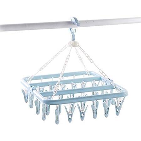 Séchoir à linge pliable en plastique avec 35 pinces à linge pour sous-vêtements et vêtements Bleu