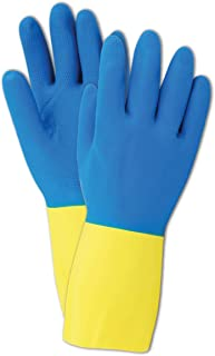 """Magid 738 Comfort Flex Flock-Lined Two Tone Neoprene/Yellow Latex Gloves, 12"""" Length, Size 10, Blue (Pack of 12 Pairs)"""