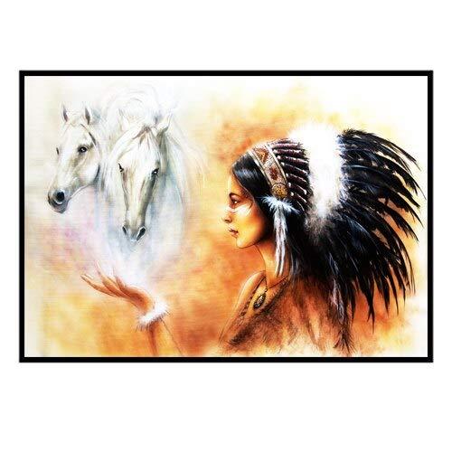 N / A Modern Poster Wandkunst Gemälde Indiana Girl Beauty Bilder und Drucke Leinwand für Wohnzimmer Heimdekoration 50 x 75 cm