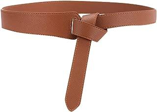 Women Stretch Elasticated Waist Belt No Buckle Adjustable Leather Belt for Long Dress Jeans