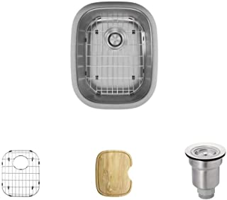 R1-1014-18 Stainless Steel Bar Sink in 18-Gauge with Cutting Board, Grid, and Basket Strainer