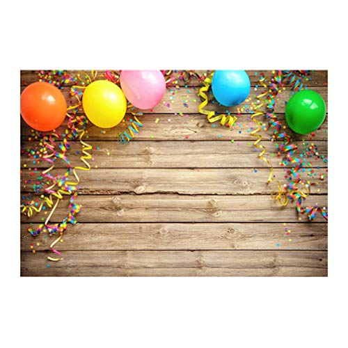 Garneck 210X150cm Fotohintergrund Holzplanke Gedruckt Ballon Hintergrund Photobooth Requisite für Kinder Geburtstag Baby-Dusche