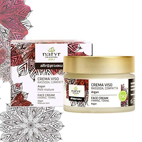 Natyr Bio Gesichtscreme mit Arganöl, Aloe Vera und Hyaluronsäure 50 ml - Feuchtigkeitscreme gegen Falten und Hautalterung aus Italien