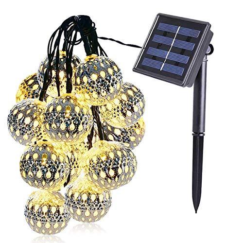 KINGCOO Geometrische Schnur Lichter Außen,15.7FT 20LEDWarmweiß Beleuchtung Metall Ambiente Ornament Solar Dekorative Lichterketten für Schlafzimmer Garten Hochzeit(Marokkanischer Ball)
